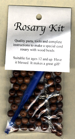 Retail Rosary Kit: Wood/Cord