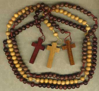 Finished Rosary Beads: Wood and Cord Rosary
