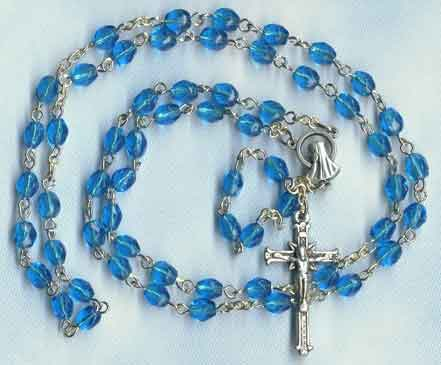 Finished Rosary Beads: Aqua Blue Glass Rosary