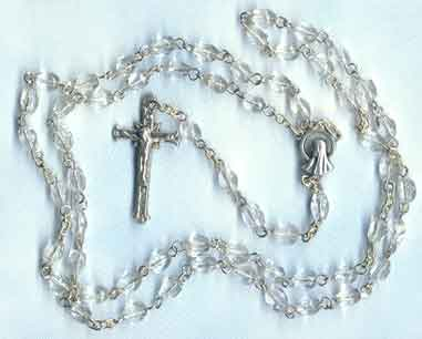 Finished Rosary Beads: Clear Glass Rosary