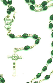 Finished Rosary Beads: Emerald Glass Rosary