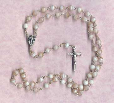 Rosaries: Pink Swirl Glass Rosary