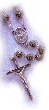 Finished Rosary Beads: St. Theresa Rosebud Rosary