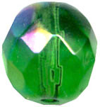 Glass Beads: AB Cz FP Emerald Glass 6mm