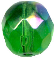 Glass Beads: AB Cz FP Emerald Glass 8mm
