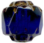 Glass Beads: Cathedral Cobalt w/Gold 6mm