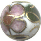 Unusual Beads: Cloisonne White 6mm