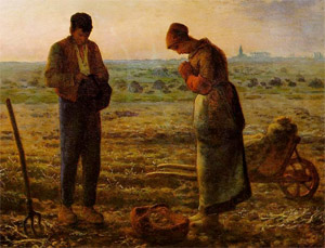Image of couple praying the Angelus by Millet